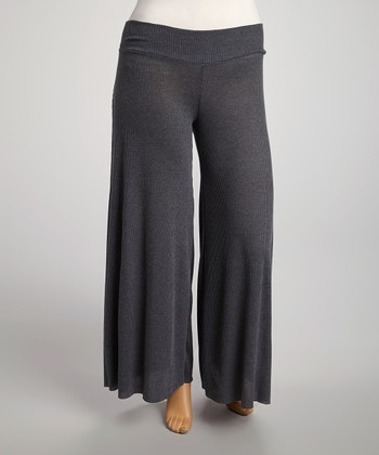 Heather Charcoal Palazzo Pants - Plus