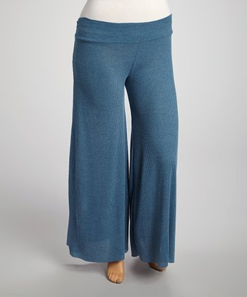 Heather Blue Palazzo Pants - Plus