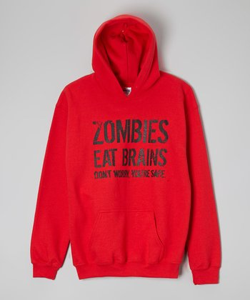 Red 'Zombies Eat Brains' Hoodie - Kids & Adults