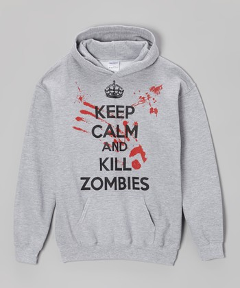 Gray 'Keep Calm and Kill Zombies' Hoodie - Kids & Adult