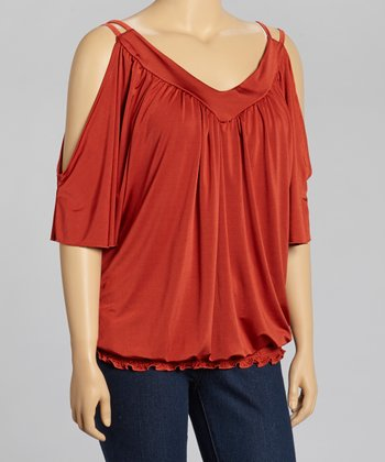 Rust Shirred Cutout Tunic - Plus