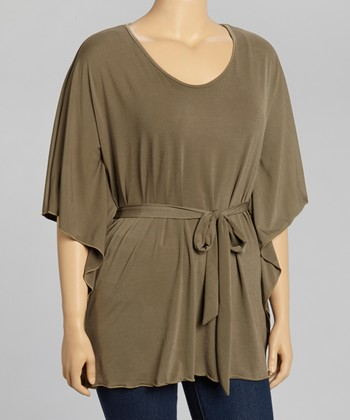Olive Cape-Sleeve Tunic - Plus