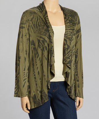 Olive Jungle Open Cardigan - Plus