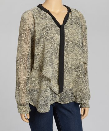 Olive Leopard Neck Tie Top - Plus