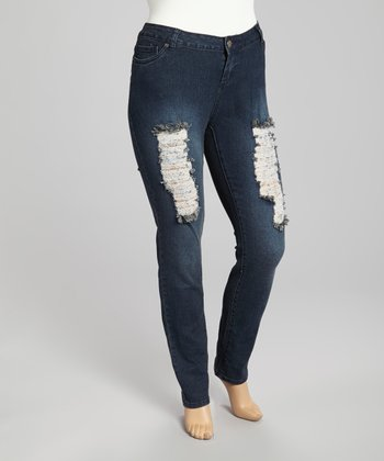 Dark Blue Distressed Denim Jeans - Plus