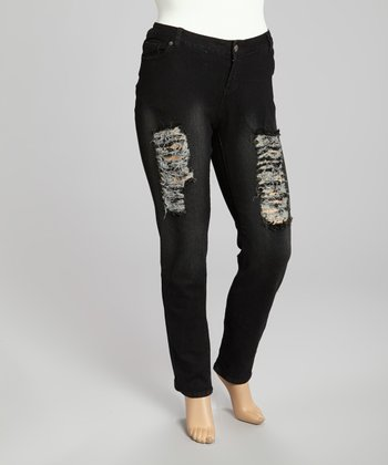 Black Distressed Denim Jeans - Plus