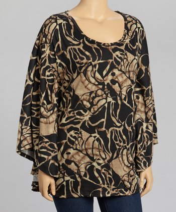 Black Abstract Cape-Sleeve Top - Plus