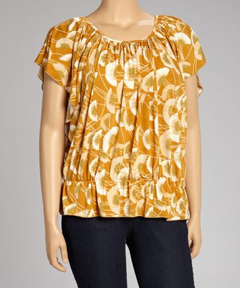 Mustard Dandelion Cape-Sleeve Top - Plus