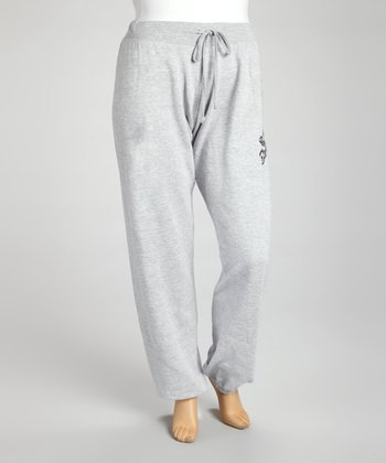 Gray Skull Fleece Sweatpants - Plus