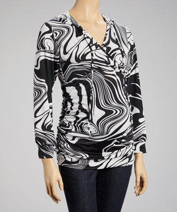 Black Abstract Hooded Maternity Surplice Top