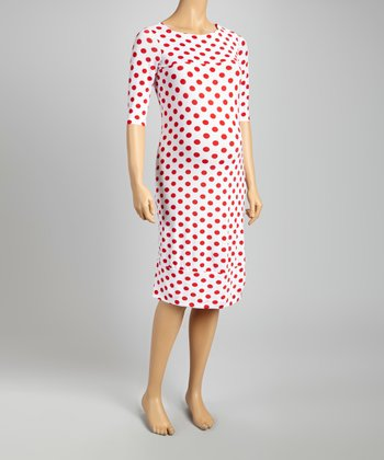 Red Polka Dot Three-Quarter-Sleeve Maternity Dress