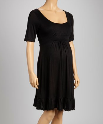 Black Flounce Maternity Dress