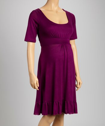 Purple Flounce Maternity Dress