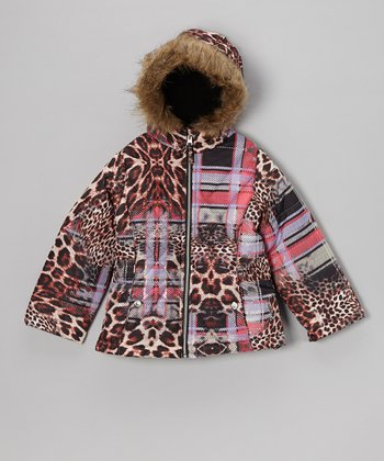 Pink Leopard Plaid Puffer Jacket - Toddler & Girls