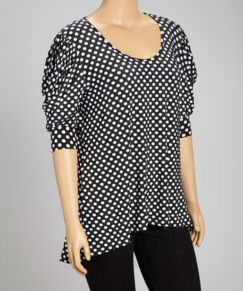 Black Polka Dot Short-Sleeve Hi-Low Top - Plus