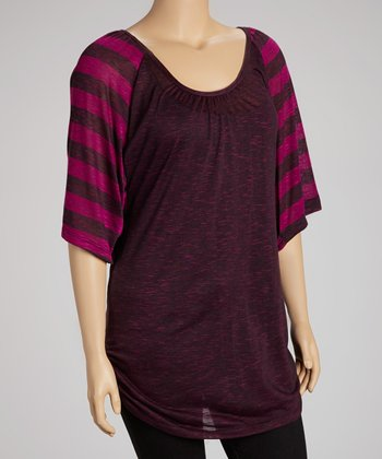 Magenta Stripe Ruched Cape-Sleeve Top - Plus