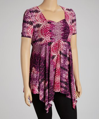 Purple & Magenta Snakeskin Handkerchief Tunic - Plus