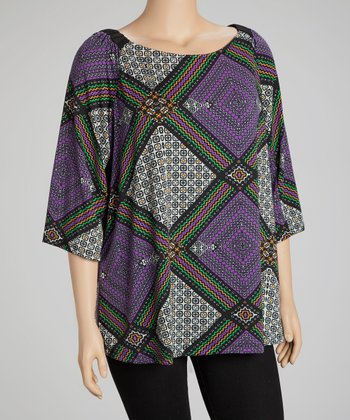 Purple & Green Geometric Cape-Sleeve Top - Plus