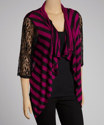Black & Magenta Stripe Lace-Sleeve Open Cardigan - Plus
