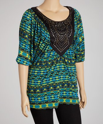 Green Tribal Embellished Top - Plus