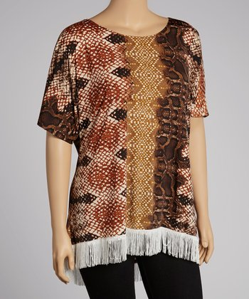 Brown Snakeskin Fringe Hi-Low Top - Plus