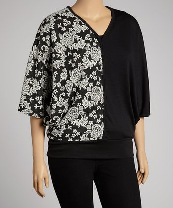 White Arabesque V-Neck Cape-Sleeve Top - Plus