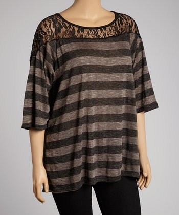 Brown Stripe Lace-Yoke Top - Plus