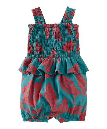 Peacock Durban Beach Peplum Romper - Infant