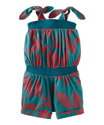 Peacock Durban Tie Romper - Toddler & Girls