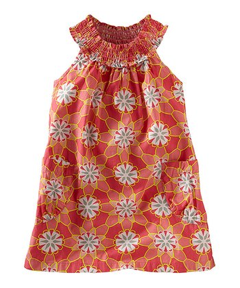 Pink Amaryllis Floral Shirred Yoke Dress - Infant & Girls