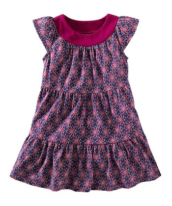 Regal Purple Jewel Floral Dress - Girls