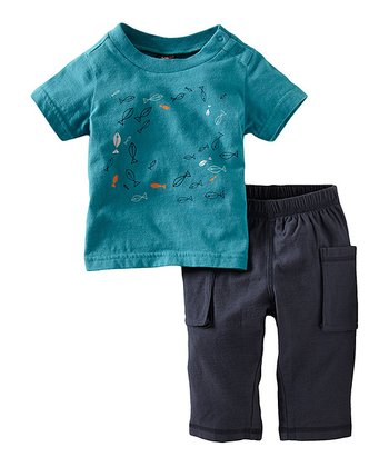 Peacock School Tee & Slate Pants - Infant