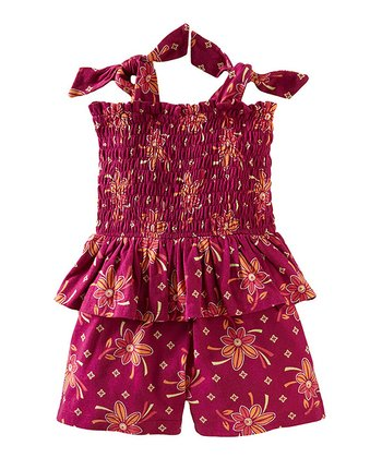 Fruit Punch Shirred Peplum Romper - Girls