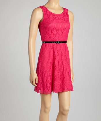 Fuchsia Lace Belted Sleeveless Dress