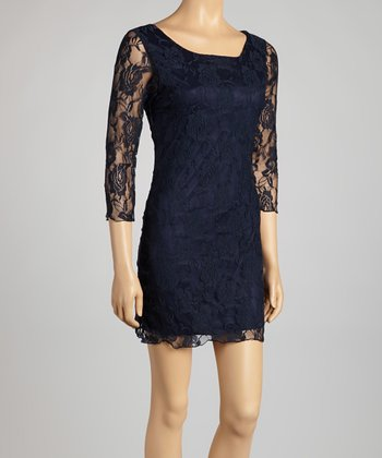 Navy Lace Scoop Neck Dress