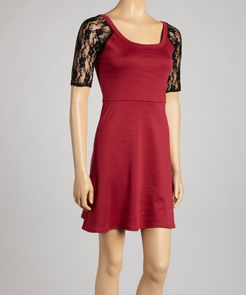 Burgundy Lace-Back Dress
