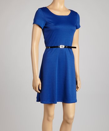 Royal Blue Belted Dress