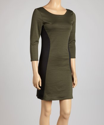 Olive & Black Color Block Dress