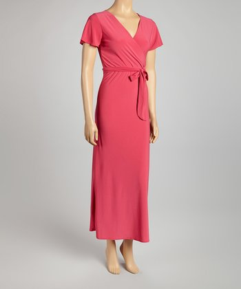 Fuchsia Surplice Maxi Dress - Women