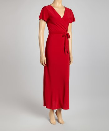 Red Surplice Maxi Dress