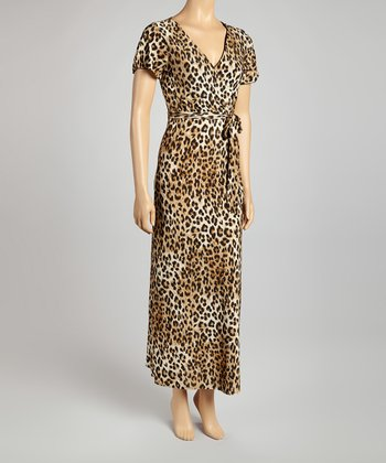 Tan Leopard Surplice Maxi Dress