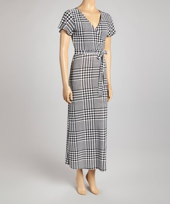 Black & White Houndstooth Surplice Maxi Dress