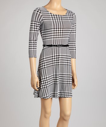 Black & White Houndstooth Belted Dress