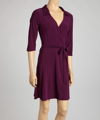 Plum Collar Surplice Dress