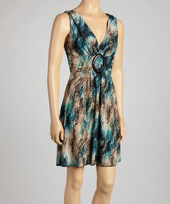 Taupe & Teal Abstract Banded Dress