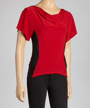 Red & Black Drape Neck Top