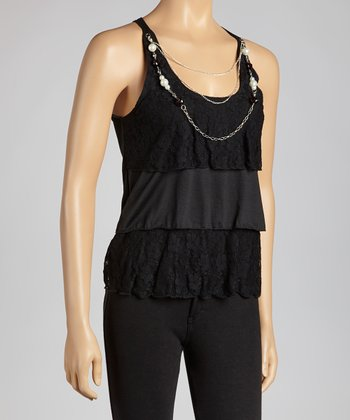 Black Lace Necklace Sleeveless Top