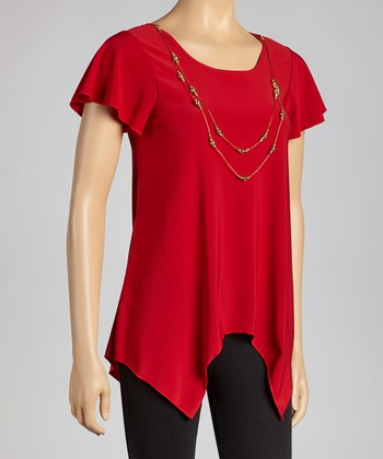 Red & Gold Necklace Top