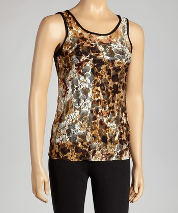 Brown Leopard Sleeveless Top