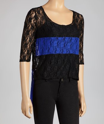 Black & Royal Blue Lace Color Block Top